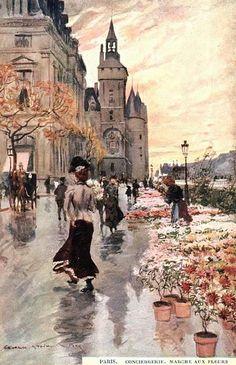 Uma pintura de Paris Mercado das Flores (Le Marche Aux Fleurs) por Georges Stein