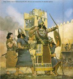 Guerreiros assírios sitiando uma cidade durante o tempo de Assurnasirpal II (Por Angus McBride)