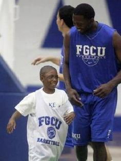Nine-year-old Patrick's wish to be a basketball star was a slam dunk. Upon his arrival, the pint-sized powerhouse was greeted with a crowd of cheering fans. After down time in the locker room and a scouting report with the rest of the Florida Gulf Coast University men's basketball team, it was time to hit the court. Patrick was presented with an official jersey. Then it was off to the President's Suite for the game and another surprise-a trophy declaring him the Honorary Coach.  I love FGCU!