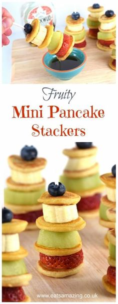 Healthy Snacks For Kids Easy fruity mini pancake stackers – kids will love these fun and healthy pancakes kebabs for breakfast snack or dessert – Eats Amazing UK Healthy Breakfast Snacks, Healthy Snacks For Kids, Best Breakfast, Healthy Desserts, Breakfast Ideas, Breakfast Fruit, Birthday Breakfast, Healthy Brunch, Healthy Food