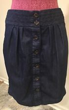 pilcro and the letterpress Pleated Full Button Down Jean Skirt Size 10