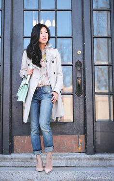 Extra Petite   Ready for spring: Pastel pink floral blouse, medium blue denim, trench, neutral-toned heels, and a mint handbag