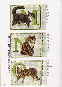 Bonitos gráficos de iniciales con gatos...