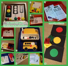 11 bus and traffic themed tot school activities! Good for a transportation theme too.