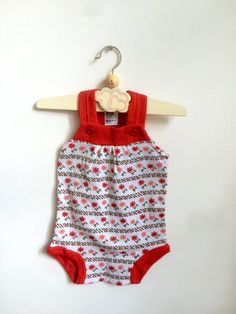 Vintage Baby Summer Romper in a red and white by ElleBelleVin