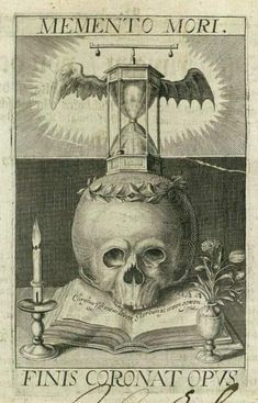 """Memento Mori"" ""Finis Coronat Opus"" (""Remember Your Mortality"" - ""The Ending Crowns All"") engraving by Matthaeus Merian, 1649 All were common themes for a very log time until modern medicine began saving more lives than it took. Dance Of Death, Vanitas, Memento Mori Art, La Danse Macabre, Merian, Occult Art, Skull And Bones, Skull Art, Dark Art"