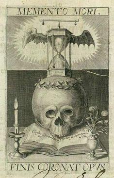 """Memento Mori"" ""Finis Coronat Opus"" (""Remember Your Mortality"" - ""The Ending Crowns All"") engraving by Matthaeus Merian, 1649"