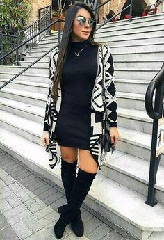 Vestidos elegantes con botas largas