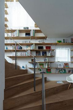 stairs, built in shelves