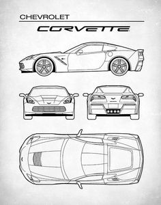 Patent Print Chevrolet Corvette Blueprint Corvette Source by Chevrolet Corvette, Camaro Ss, Design Autos, Design Cars, Auto Design, Bugatti, Car Design Sketch, Car Sketch, Car Posters