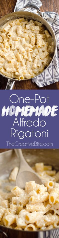 One-Pot Homemade Alfredo Rigatoni is an easy vegetarian dinner idea with a rich Parmesan and cream sauce with tender rigatoni pasta for a comforting meal that tastes amazing! #OnePot #Pasta #Alfredo