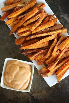 Oven Baked Sweet Potato Fries with Fry Sauce.