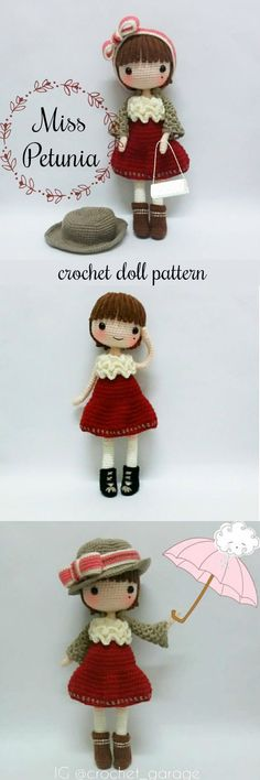 What a cute crocheted doll pattern! I love this little amigurumi girl with her sweet handbag and lovely hat with a bow! So quaint! #etsy #ad #love #amigurumi #pattern #pdf #download #toy
