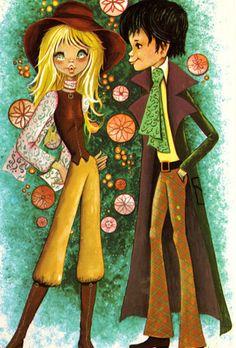 Vintage post card Mod boy and girl in love. Vintage Prints, Vintage Art, Jewels Clothing, Mixed People, Sweet Drawings, Look Into My Eyes, Illustration Art, Vintage Illustrations, Retro Art