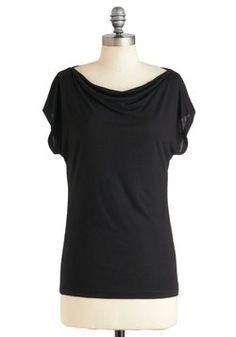 Artistic Retreat Top. Clad in this black draped tee of soft jersey, a pair of dark-wash skinnies, boldly colored earrings, and lace-up black boots, you pack the remainder of your supplies in the back of your car before heading off in the direction of your yearly retreat. #black #modcloth