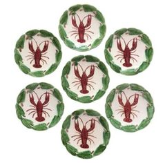 Check out this item at One Kings Lane! Majolica Lobster Plates, S/7