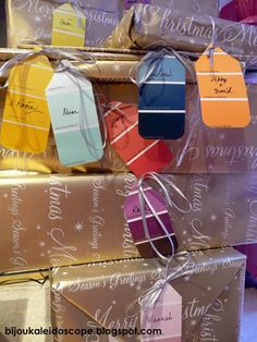 paint swatch gift tags...brilliant, pretty and free!