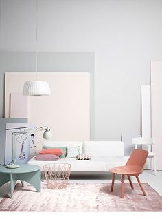 Light interior, pink, gray, off white, elegant interior, Bauhaus influence