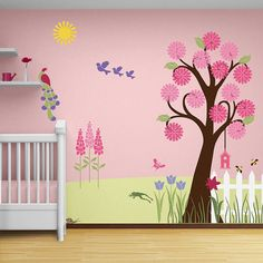 Trumpet Flower and Leafy Branch Stencil for Girl by MyWallStencils
