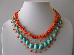 1940's Branch Coral Turquoise Glass Cluster Dangle Bib Necklace