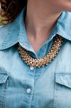 wear a statement necklace under a button up collar