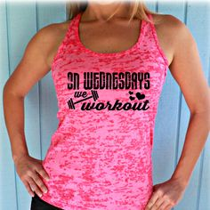 On Wednesdays We Workout Burnout Workout Tank Top. Fitness Shirt. Womens Inspirational Clothing. Motivational Workout Tank Top.