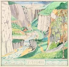 Museoteca - The fair valley of 'Rivendell', J.R.R. Tolkien Tolkien Drawings, J. R. R. Tolkien, Web Gallery, Middle Earth, The Hobbit, Sketches, Carving, Watercolor, Libraries