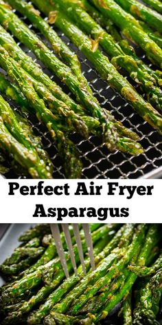 Perfect Air Fryer Asparagus make a great side for any dish Healthy simple and quick you ll love how convenient and yummy they are Air Frier Recipes, Air Fryer Oven Recipes, Air Fryer Dinner Recipes, Oven Fryer, Recipes Dinner, Dinner Ideas, Asparagus Fries, How To Cook Asparagus, Asparagus Recipe