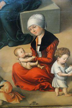 Germaldegalerie der Bildenden Kunste Wien dress with nicely slashed sleeves at the shoulder  maid or nurse with children
