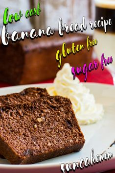 Chocolate Banana Bread Recipe Be it rainy afternoon or sunny morning this fast & easy banana bread will put a smile on everybody's face! On top of that it's dairy, gluten & sugar free! Keto Banana Bread, Banana Bread Recipes, Tart Recipes, Cookie Recipes, Sugar Free Desserts, Sugar Free Recipes, Low Carb Desserts, Chocolate Bread Recipe, Chocolate Banana Bread