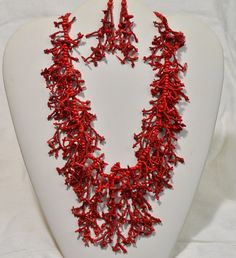 Red Statement Necklace Beadwork  Necklace  Coral Beadweaving with Seed Beads  Choker Necklace Fringe Necklace
