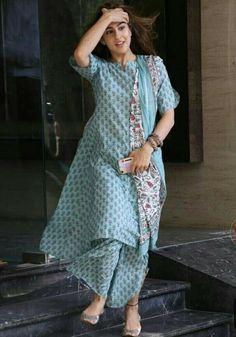 Indian Style Long kurti dress With dupatta pant Flare Top Tunic Set Combo Ethnic #Handmade #SalwarKameez