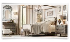 Love the chandelier in the middle of the canopy bed--helps anchor the bed in the room | Restoration Hardware