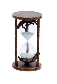 Benzara Distinctive Polystone and Glass 15 min Hourglass with White Stand