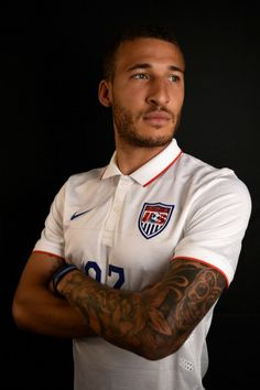 Fabian Johnson of the United States poses during the Official FIFA World Cup 2014 portrait session on June 2014 in Sao Paulo, Brazil. Us Soccer, Soccer World, Soccer Players, Most Handsome Men, Baby Daddy, Fifa World Cup, Gorgeous Men, Beautiful, Messi