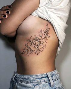 Peony Rib Tattoo Idea for Girls Peony Flower Tattoos, Tattoo Linework, Cover Up Tattoos, Body Art Tattoos, Evil Tattoos, Little Tattoos, Dream Tattoos, Peircings, Body Modifications