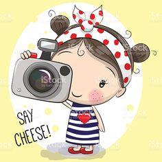 Bonito desenho de menina com uma câmera vetor e ilustração royalty-free royalty-free