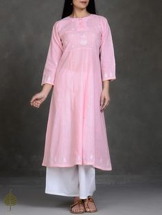 Pink-White Chikankari Kalidar Cotton Kurta by Japore Pakistani Dresses Casual, Indian Dresses, Churidar Designs, Indian Designer Suits, Girl Fashion, Fashion Outfits, Blouse Outfit, Mode Vintage, Indian Wear