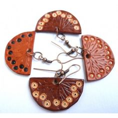 Flower Leather Earrings, Tan Leather, Leather Products, Drop Earrings, Handmade Leather, Jewelry, Art, Leather, Art Background