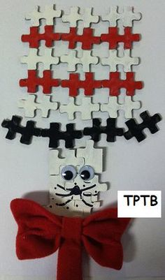 Dr. Seuss Recycled Puzzle Craft -  Pinned by @PediaStaff – Please Visit http://ht.ly/63sNt for all our pediatric therapy pins