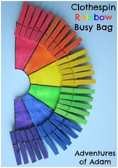 Clothespin Rainbow Busy Bag. A simple toddler or preschool busy bag to develop fine motor skills. Help your little one learn the colours of the rainbow .