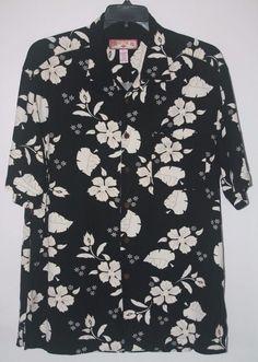 Caribbean Joe Black Floral Hawaiian Shirt Large Rayon Short Sleeve L #CaribbeanJoe #Hawaiian #TropicalFashion