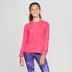 fdcaebc15 Girls' Ruched Super Soft Long Sleeve T-Shirt - C9 Champion Fuschia M, Pink