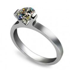 Platinum Plated 925 Sterling Silver Ring With 1 ct Perfectly Cut Artificial Diamond - USD $126.95