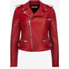 Bally LEATHER BIKER JACKET Women's lamb leather biker jacket in... (66,775 MXN) ❤ liked on Polyvore featuring outerwear, jackets, leather motorcycle jacket, leather biker jackets, red zipper jacket, red biker jacket and real leather jackets