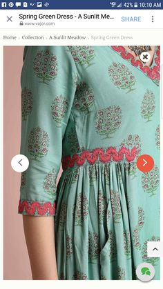 I love the detail in this dress. Kurta Designs Women, Kurti Neck Designs, Dress Neck Designs, Blouse Designs, Pakistani Dresses Casual, Pakistani Dress Design, Frock Fashion, Fashion Dresses, Stylish Dresses