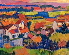 "André Derain (1880-1954) was a French artist, painter, sculptor and co-founder of Fauvism with Henri Matisse. (Wikipedia) (""Landscape Near Chatou"" by Andre Derain)"