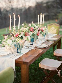 elegant garden wedding table - photo by Lauren Gabrielle Photography http://ruffledblog.com/elegant-organic-mother-nature-inspired-shoot