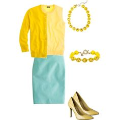 Mint with Yellows by miigwan on Polyvore