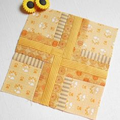 Block 136 - 100 Two.  Yellow scraps come together for the second…
